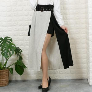 Tweed Plain Twill High-waisted Shor Pants Attached Long Skirt