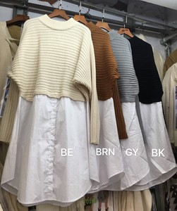 A/W Sweater Knitted Long Shirt Switching Design
