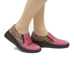 Genuine Leather Leopard Combi Thick-soled Pumps