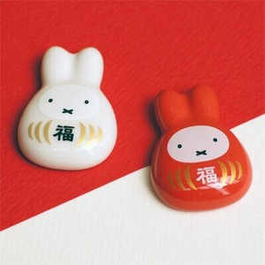 Miffy Daruma Porcelain Chopstick Rest Red And White Set