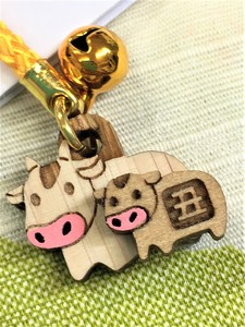 New Year Zodiac Laser Hand Craft Japanese Cypress Parent And Child Cell Phone Charm