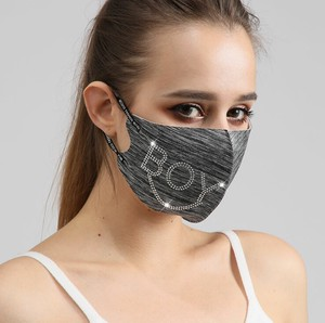 [ 2020NewItem ] Fashion Pollen Countermeasure Black Letter Drill Mask Attached