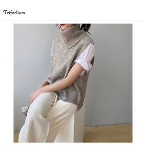 """2020 New Item"" 5 Colors Longer Turtle Neck Sleeveless Knitted"