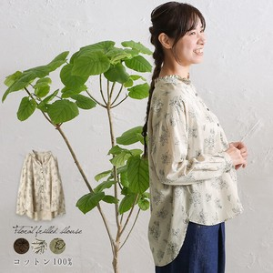 Floral Pattern Frill Blouse Natural Round Leisurely Elegance