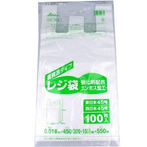FI-5 レジ袋 45号 乳白 0.018×450×550mm 100枚入