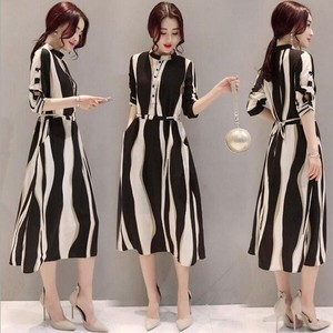 One-piece Dress One-piece Dress Stripe Long One Piece Dress Outing Line A3