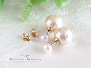 White Pearl Pierced Earring 10mm Cotton Pearl Catch Set