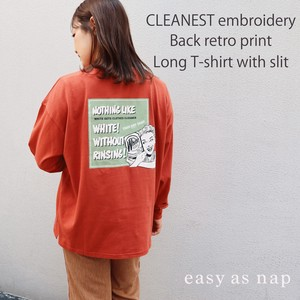 【easy as nap】【2020秋新作】CLEANEST刺繍&バックレトロプリントスリット入ロンT