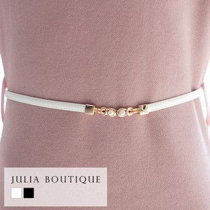 Belt Pearl Attached Enamel Belt