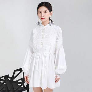 Ladies First Love Buckle Embroidery Lantern One-piece Dress