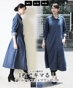 Season Light Coat Denim Flare Shirt One-piece Dress Jacket Coat [ 2020NewItem ]