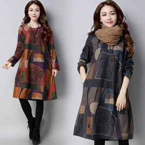 Ladies A/W Print One-piece Dress 100