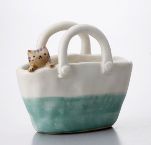 Cat Flower Vase Green