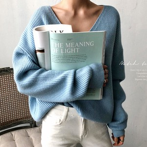 Knitted Sweater V-neck Top Ladies Long Sleeve Leisurely