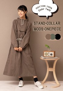 Twill Stand Color Mod One‐piece dress.