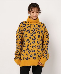 Leopard Turtle Neck Tunic Knitted