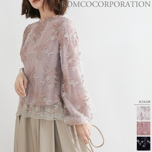 A/W Petit High Neck Embroidery Blouse