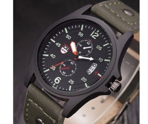 Military Leather Waterproof Quartz Analog Army Men's Quartz List Watch