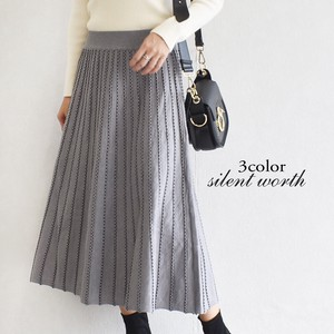 A/W Stripe Card Knitted Skirt