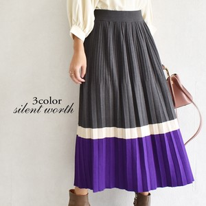 A/W Border Color Scheme Knitted Pleats Skirt