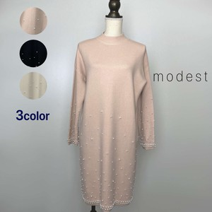 """2020 New Item"" Elegant Pearl Knitted One-piece Dress"