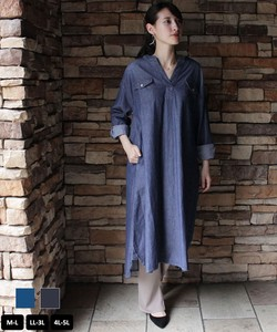 Light Denim Round Neck Over One-piece Dress Jacket Shirt One-piece Dress [ 2020NewItem ]