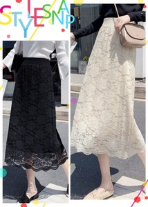 Lace Skirt Long A/W Ladies Casual Elastic Waist Floral Pattern Skirt