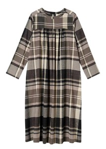 A/W Organic Cotton Gigging Checkered Gather One-piece Dress