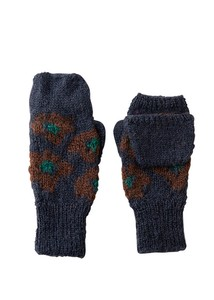 Hand Knitting Floral Pattern Card Knitted Glove