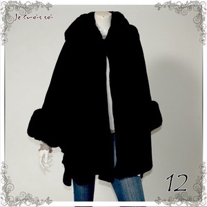 7 Colors Big Premium Eco Fur Knitted Long Cape Cardigan Lady