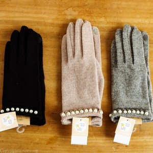 Pearl Attached Glove Black Gray Charcoal Ladies