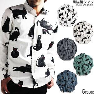 【日本製】猫シリーズ 黒猫柄長袖シャツ