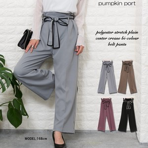Stretch Plain-woven Press Color Scheme Ribbon Belt Attached wide pants