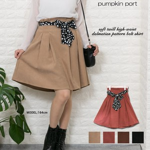 soft Twill High-waisted Dalmatian Ribbon Belt Attached Flare Skirt