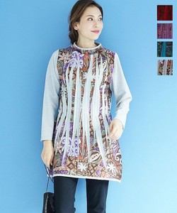Print Print Pleats Tunic Bottle Neck Inner Ethnic Geometry Long Sleeve
