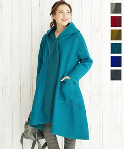 Wool Coat Italy Knitted Light-Weight Line Big Pocket