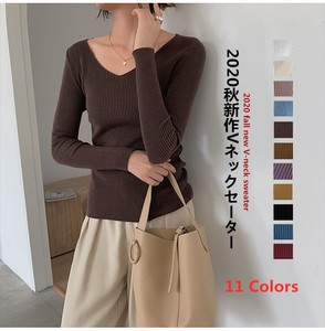 V-neck Ladies Long Sleeve Knitted Knitted A/W Top Knitted Top