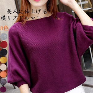 A/W Knitted Dolman Knitted Sweater Leisurely Knitted Round Neck Ladies