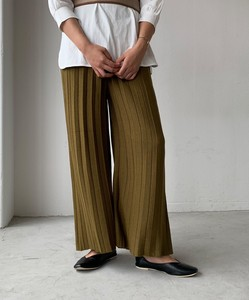 Pleats Knitted wide pants