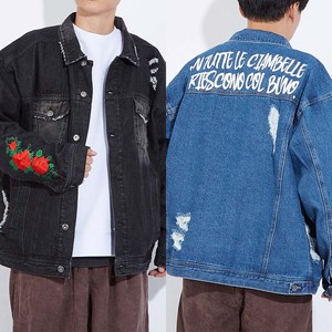 A/W Unisex rose Embroidery Damage Big Denim