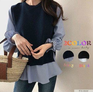 Shirt Knitted Vest 2 Pcs Set Sweater Korea Fashion Top