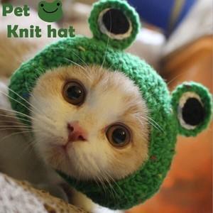 犬用 猫帽子 かぶりもの カエル スヌード蛙 小型犬 中型犬 S/M ペット用品
