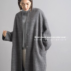 Checkered Wool Non-collared Coat