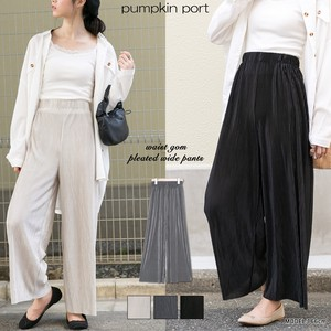Pleats Belt Attached Elastic Waist Specification wide pants