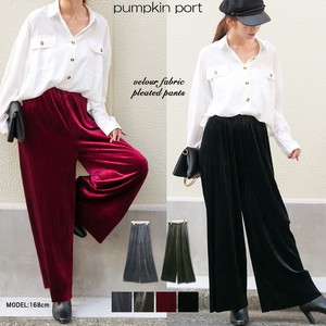 [ 2020NewItem ] Velour Pleats Belt Attached Elastic Waist Specification wide pants