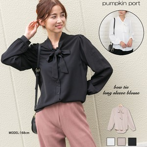 Korea Synthetic Attached Long Sleeve Blouse