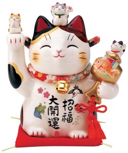 Happiness Fun Fortune Ornament Better Fortune Good Luck Beckoning cat Crape Collar Size 6