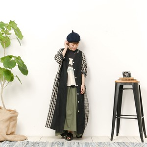 Three-Quarter Length Long Kaede Cotton Linen Plain