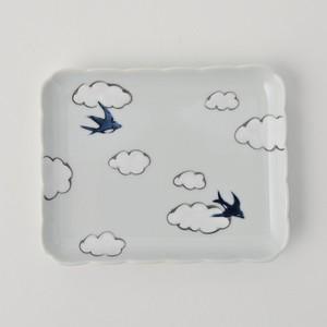 【有田焼】【雲つばめ】【角銘々皿】※手描き