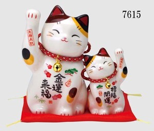Happiness Fun Fortune Ornament Beckoning cat Set Parent And Child